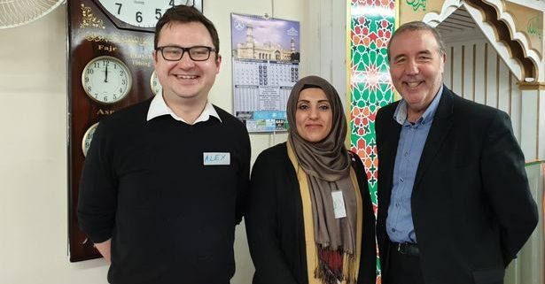 Saema Mohammad with Alex Norris MP (left) and Police & Crime Commissioner Paddy Tipping (right)